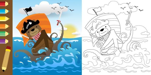 Grappige cartoon van piratengevechten met monster van zee