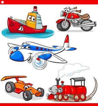 Grappige cartoon voertuigen en auto's instellen