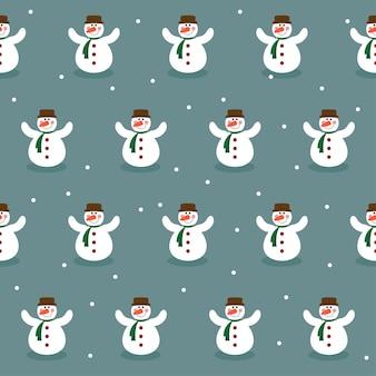 Grappige cartoon wintervakantie achtergrond met santa fir en schattige lachende sneeuwpop