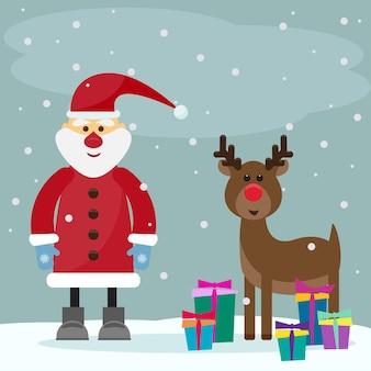 Grappige cartoon wintervakantie wenskaart met kerstman met geschenken en grappige herten