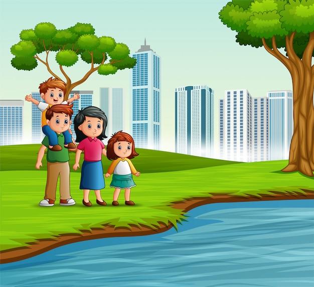 Grappige cartoonfamilie in het stadspark