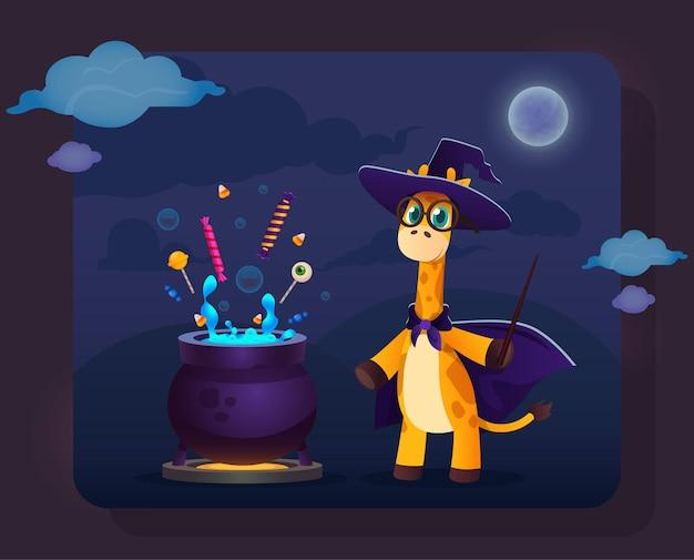 Grappige cartoongiraf in heksenkleren die dichtbij magische pot staan met snoepjes en toverstaf in de hand