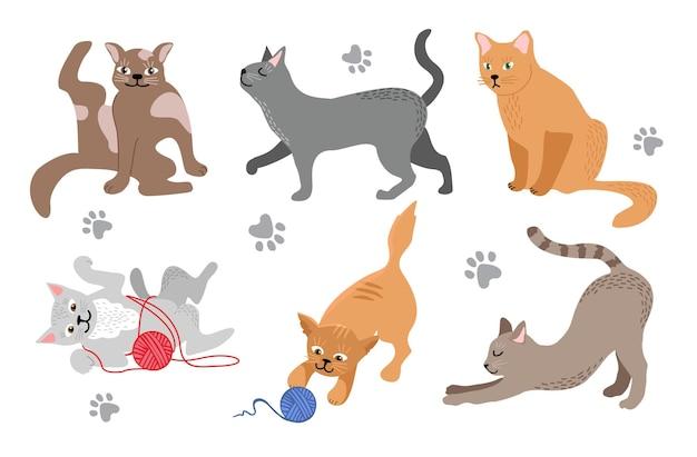 Grappige cartoonkatten in verschillende poses huiskatten ontspannen wandelen, zitten en spelen gelukkig