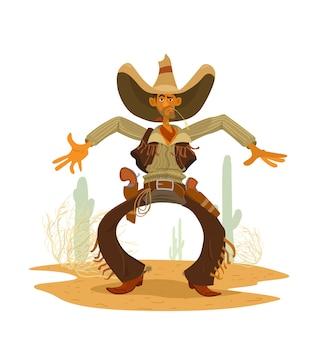 Grappige cawboy met grote hoed, bandana, leren broek met franje en vest, grote revolvers in holster. prairielandschap met cactussen en rollende steen. vector stripfiguur.