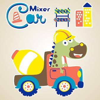 Grappige chauffeur op mix-truck