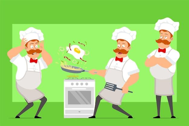 Grappige chef-kok kok man stripfiguur in wit uniform en bakker hoed