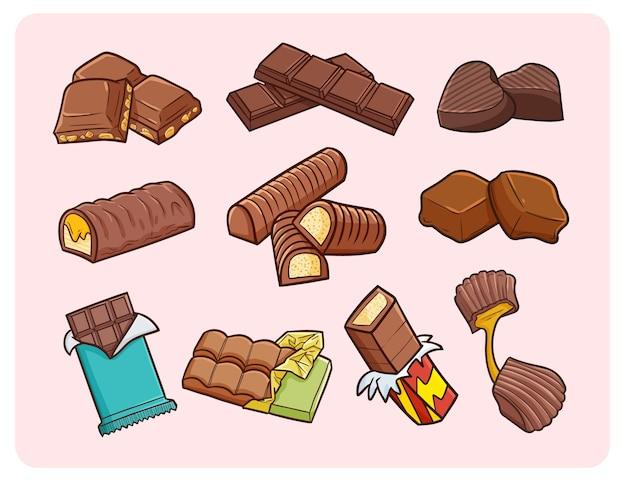 Grappige chocolaatjes in eenvoudige doodle-stijl