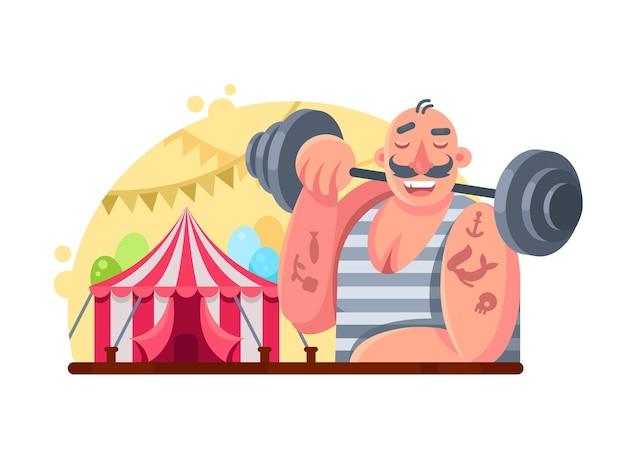 Grappige circusgewichtheffer. man met barbell op schouder. vector illustratie