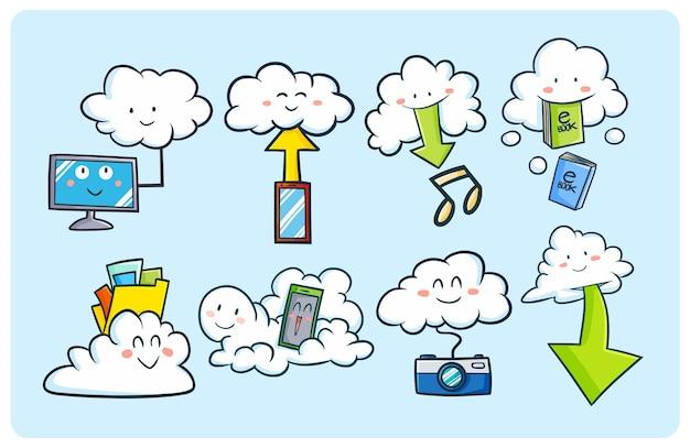 Grappige cloud computing-concepten in kawaii doodle stijl