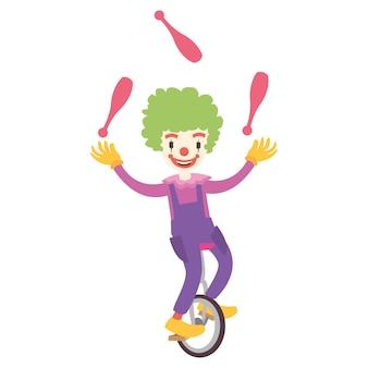 Grappige clown die een fiets met één wiel berijdt