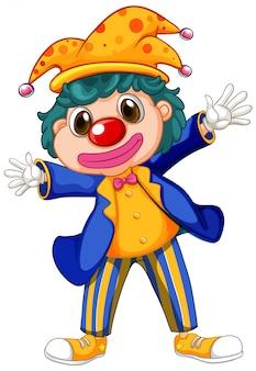 Grappige clown die grote schoenen en jas draagt