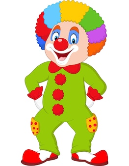 Grappige clown die op wit wordt geïsoleerd