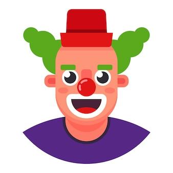 Grappige clown. het hoofd lacht. flat karakter vector illustratie.