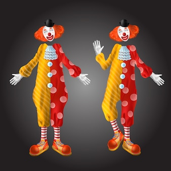 Grappige clown tekenset geïsoleerd op zwarte achtergrond.