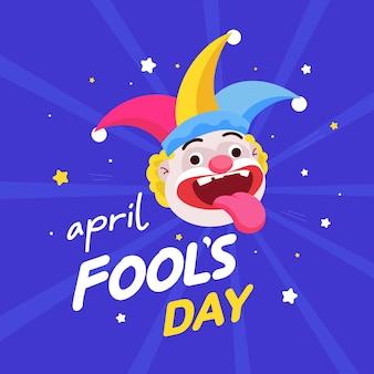 Grappige clown vlakke afbeelding voor fools day, april dwazen dag wenskaart