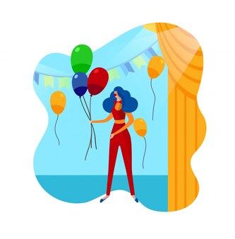 Grappige clown vrouwelijke personage in het circus. kinderfeestje