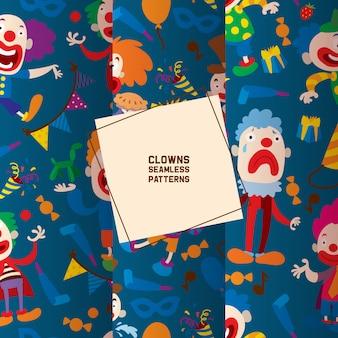 Grappige clownskarakters en het verschillende naadloze patroon van circustoebehoren. karakter cartoon clown, cabaretier en nar prestaties in kostuum,