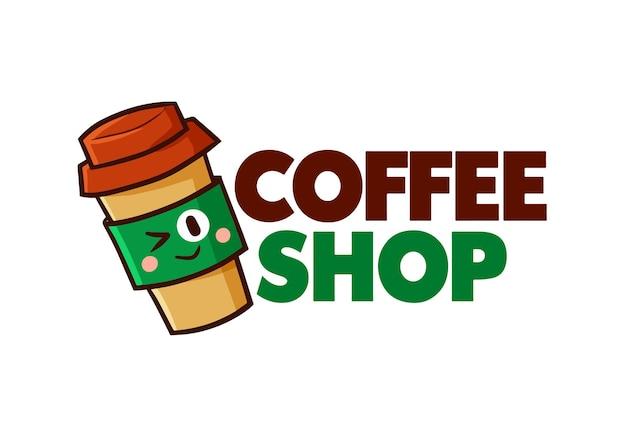 Grappige coffeeshop logo sjabloon