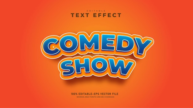 Grappige comedyshow bewerkbare 3d-teksteffect premium vector