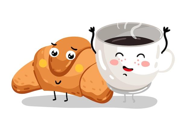 Grappige croissant en koffiekopje stripfiguren