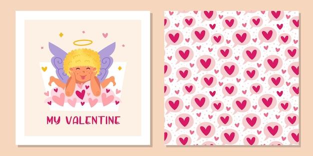 Grappige cupido met halo en harten. valentijnsdag. naadloze patroon en wenskaart ontwerpsjabloon.