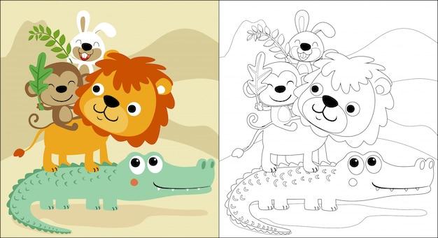 Grappige dieren cartoon opgestapeld