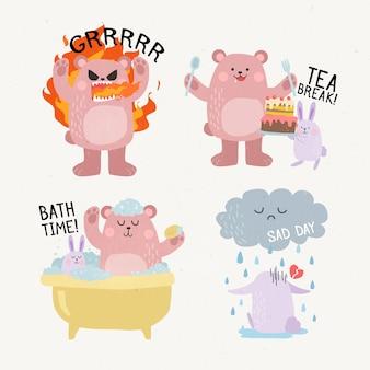 Grappige dieren doen verschillende activiteiten hand getekende stickers
