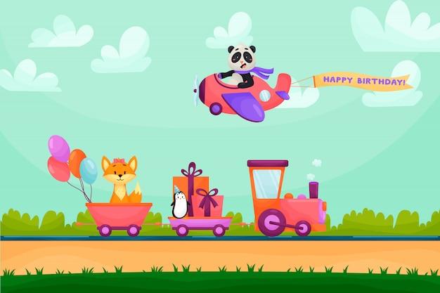 Grappige dieren gelukkige verjaardag wenskaart. dieren gaan met de trein naar verjaardagsfeestje. dieren vliegen op het vliegtuig in de bergen.