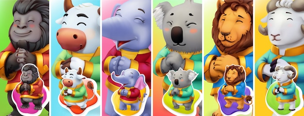 Grappige dieren. gorilla, stier, olifant, koala, leeuw, ram. 3d
