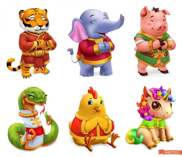 Grappige dieren. tijger, olifant, ig, slang, kip, eenhoorn. 3d icon set