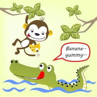 Grappige dieren vriendschap cartoon Premium Vector