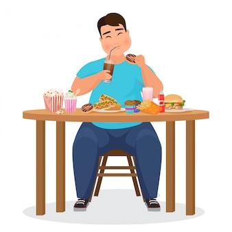 Grappige dikke zwaarlijvige man hamburger fastfood eten. illustratie.