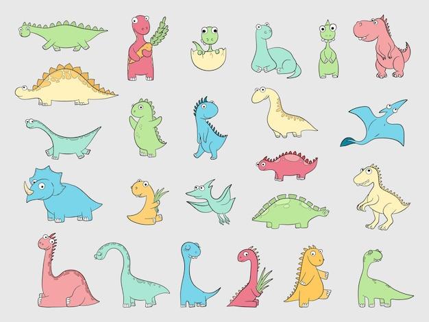 Grappige dinosaurussen. oude boze dieren wilde dinosaurussen draken reptielen vectorillustratie. dinosaurus prehistorisch dier, roofdier wild reptiel