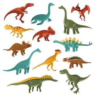 Grappige dinosaurussen set Premium Vector