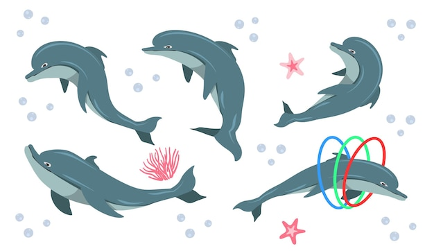 Grappige dolfijn cartoon karakter doodle set