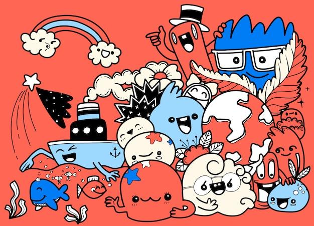 Grappige doodle cartoon set. hand getekende illustratie