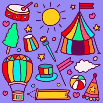Grappige doodle circus ontwerp illustratie