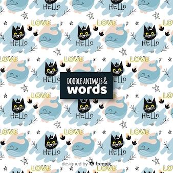 Grappige doodle dieren en woorden patroon