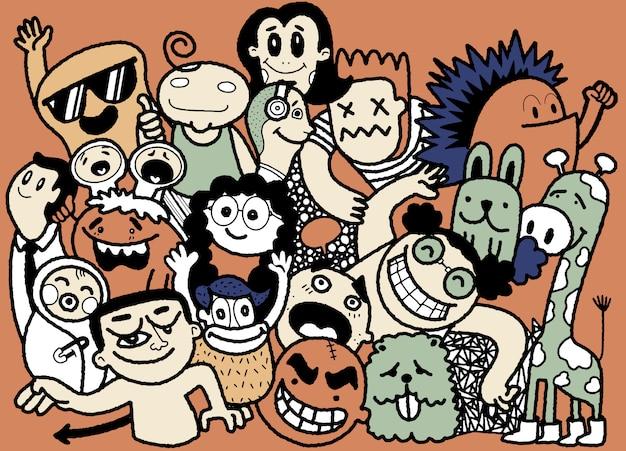 Grappige doodle mensen, hand getrokken illustratie