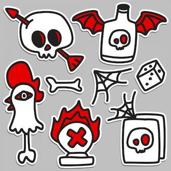 Grappige doodle tattoo ontwerp illustratie