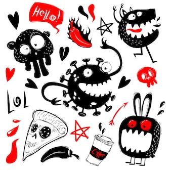 Grappige doodles met geplaatste monsters
