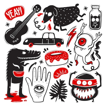 Grappige doodles met monsters set