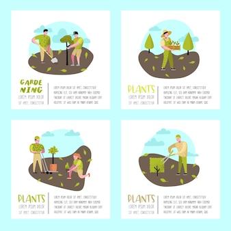 Grappige eenvoudige personages met planten en bomen