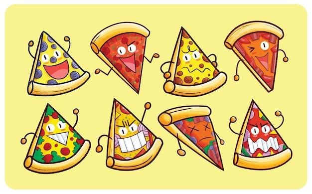 Grappige en coole verzameling pizzakarakters in kawaii-stijl