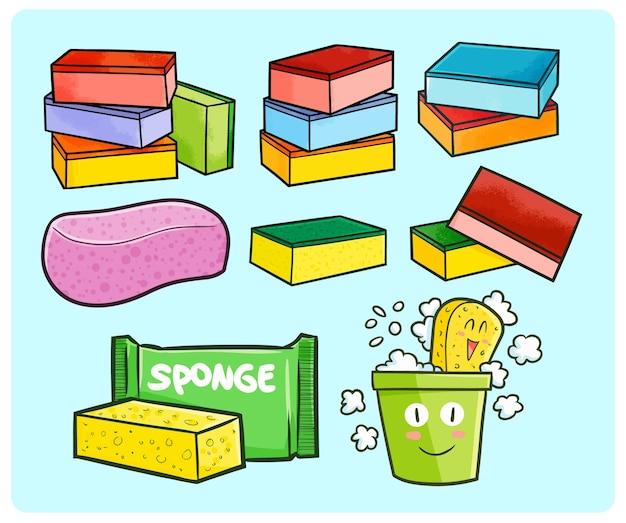 Grappige en kleurrijke wassponscollectie in eenvoudige doodle-stijl