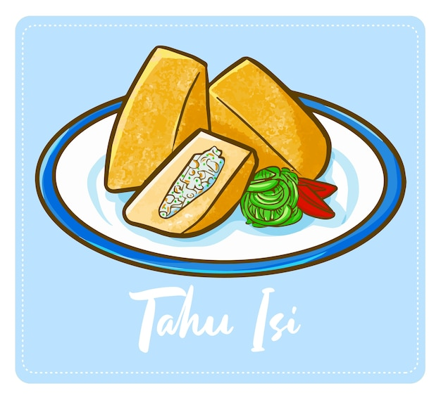 Grappige en lekkere schattige indonesische tofu of