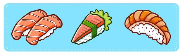 Grappige en lekkere sushi met drie vlees
