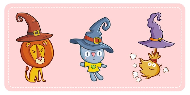 Grappige en schattige kawaii leeuw, kat en bezem met heksenhoed voor halloween.