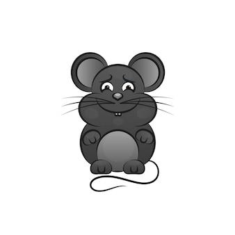 Grappige en schattige muis die staat en een kaas vasthoudt