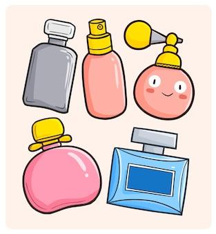 Grappige en schattige parfumcollectie in eenvoudige doodle-stijl Premium Vector